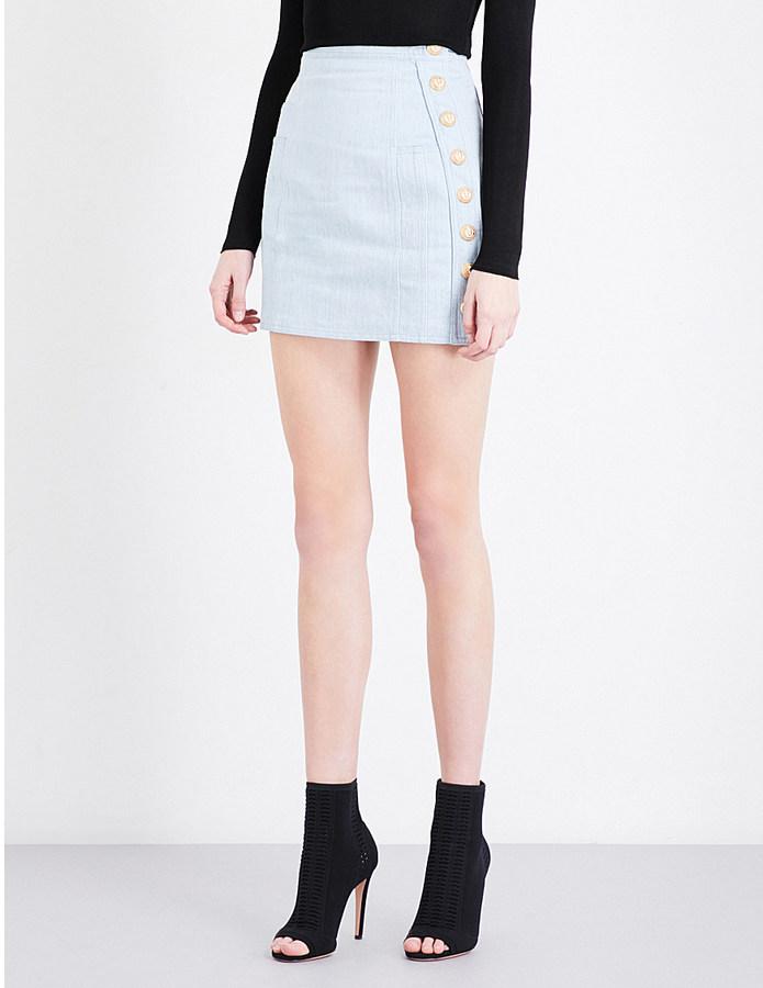 BalmainBalmain Button-detail stretch-denim mini skirt