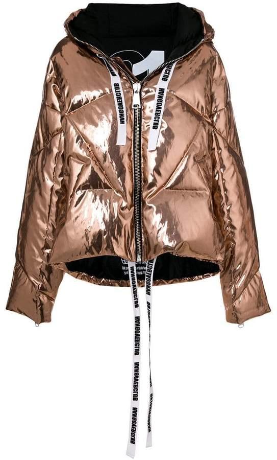 Khrisjoy metallic hooded puffer jacket