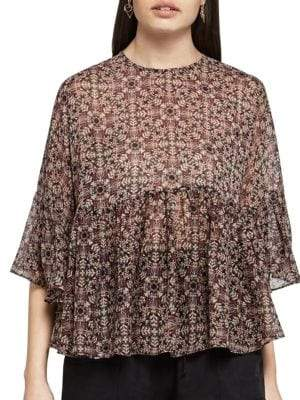 BCBGeneration Medallion Vines Ruffle Top