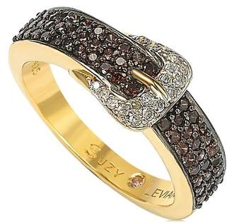 LeVian Suzy Jewelry Gold-Tone Sterling Silver CZ Brown Buckle Ring