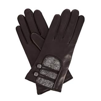 Gizelle Renee - Catherine Black Leather Gloves With Black Speckle Wool