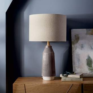 west elm Roar + RabbitTM Ripple Ceramic Table Lamp - Large Narrow (Warm Gray)