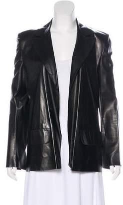 Fendi Leather Notch-Lapel Jacket