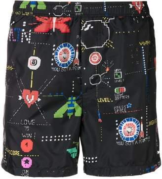 Valentino video games print swim shorts