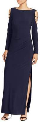 Lauren Ralph Lauren Embellished Cold-Shoulder Jersey Gown