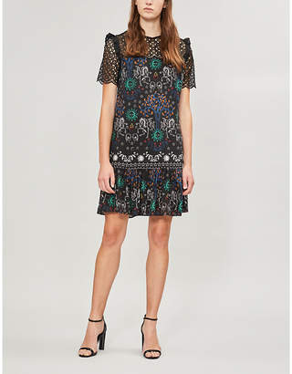 Sandro Geometric-lace panel woven dress