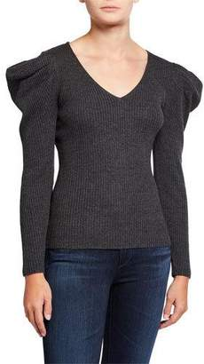 Milly Isabelle V-Neck Puff-Sleeve Ribbed Wool Sweater