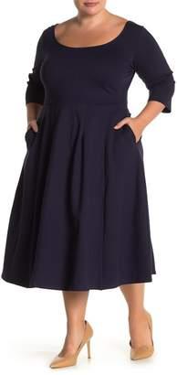 City Chic Classic Scoop Neck 3/4 Sleeve Midi Dress (Plus Size)