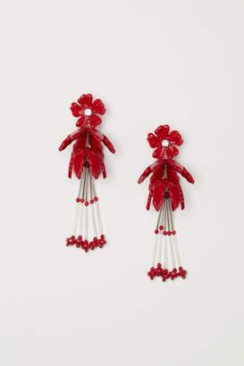 H&M Long Earrings - Dark red - Women