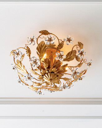 Horchow Crystal Flower Flush-Mount Light Fixture