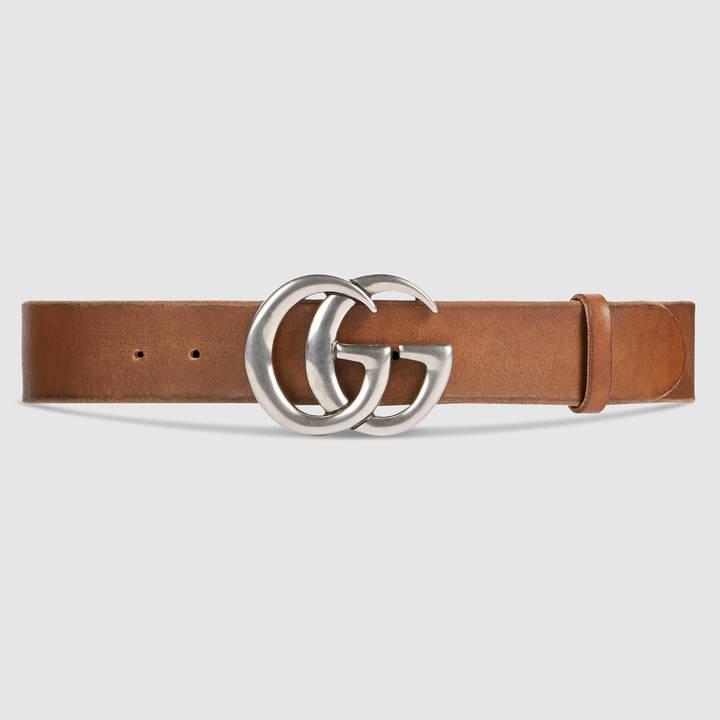Leather belt with double G buckle 9