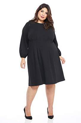 London Times Women's Plus Size Long Sleeve Pleat Tucked Waist FIT and Flare Dress