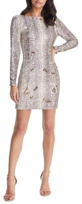 Dress the Population Lola Long Sleeve Python Sequin Minidress