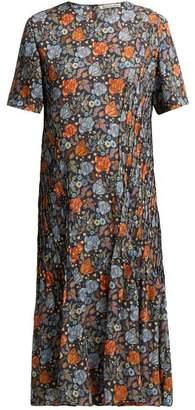 Acne Studios Floral Print Pleated Dress - Womens - Orange Multi