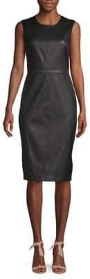 Saks Fifth Avenue BLACK Leather Sheath Dress