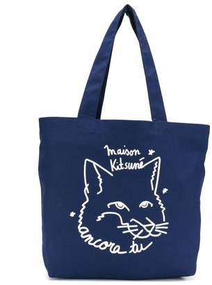 MAISON KITSUNÉ fox logo print canvas tote