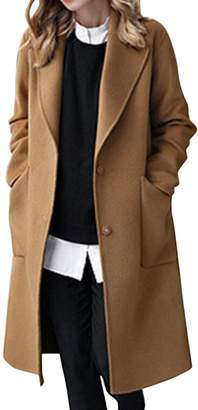 767a5c8897e YYG-Women Winter Plus Size Lapel Long Wool Blend Pea Coat Cardigan Overcoat  M