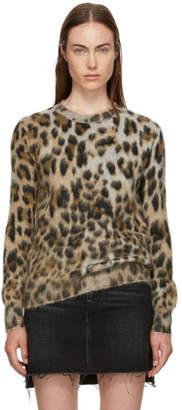 Saint Laurent Beige Leopard Jacquard Crewneck