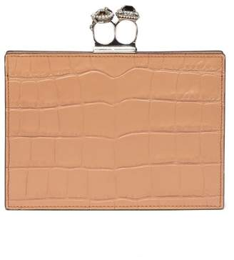 Alexander McQueen Knuckle Crocodile Effect Leather Clutch - Womens - Nude