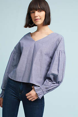 Sunday in Brooklyn Tie-Sleeve V-Neck Blouse