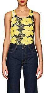 "Calvin Klein Women's ""Flowers"" Rib-Knit Cotton Tank - Optic White Yellow Black"