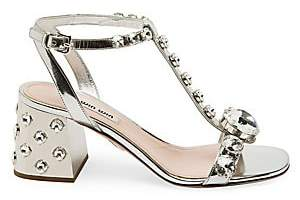 Miu Miu Women's Jewelled T-Strap Leather Sandals