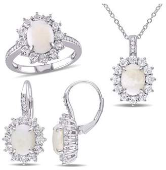 Tangelo 7-7/8 Carat T.G.W. White Opal, Topaz and 1/6 Carat T.W. Diamond Sterling Silver 3-Piece Halo Earrings, Ring and Pendant Set
