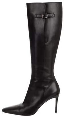 Christian Louboutin Pointed-Toe Knee-High Boots Black Pointed-Toe Knee-High Boots