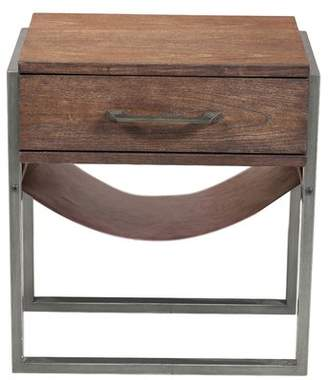 Union Rustic Larosa Industrial Style Acacia Wood End Table