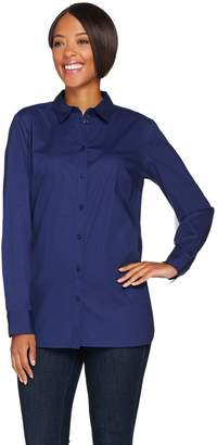 Isaac Mizrahi Live! Long Sleeve Button Front Woven Tunic Blouse