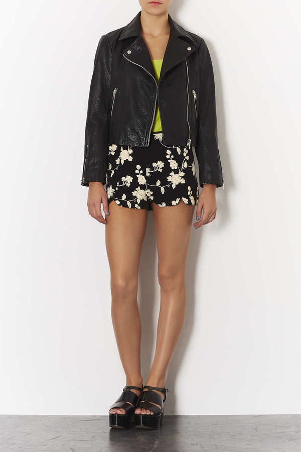 Topshop Black Embroidered Shorts