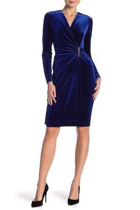 Modern American Designer Velvet Wrap Bar Accent Dress
