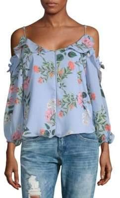 Parker Floral Cold-Shoulder Top
