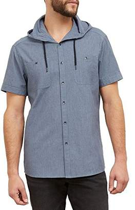 Kenneth Cole Reaction Men's Short Sleeve Hooded Chambray