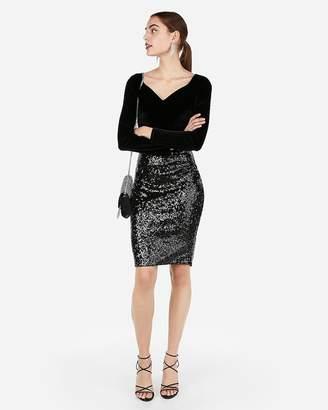 Express High Waisted Sequin Mini Pencil Skirt