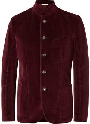 Massimo Alba Burgundy Cotton-Velvet Blazer