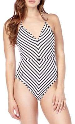 3fa85ff1121ab Polo Ralph Lauren Pique Stripe Belted Halter One Piece Swimsuit