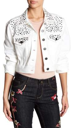 Alice + Olivia Chloe Sequin Studded Denim Jacket