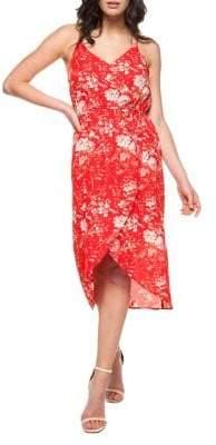 Dex Hi-Lo Floral Print Faux Wrap Dress