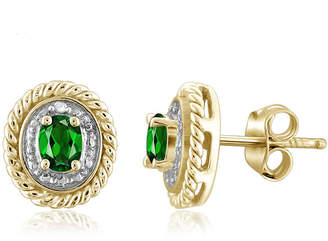FINE JEWELRY Diamond Accent Green Chrome Diopside 14K Gold Over Silver 8.8mm Stud Earrings