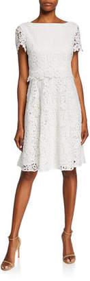 Shani Bateau-Neck Short-Sleeve Fit-&-Flare Popover Lace Dress