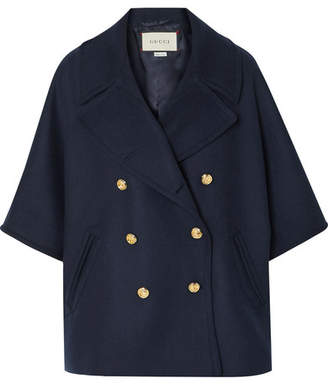 Gucci Cape-effect Double-breasted Wool-blend Felt Coat - Navy