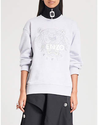 d646ac447 Kenzo Womens Pearl Grey Tiger-Embroidered Cotton-Jersey Sweatshirt