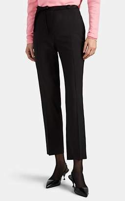 Prada Women's Bow-Detailed Worsted Wool Slim Trousers - Black