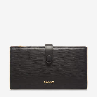 Bally Lamber Black, Women's embossed calf leather wallet in black
