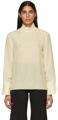 Chloé Off-White Silk High Neck Blouse
