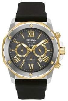 Bulova Chronograph Marine Star Two-Tone Silicone Strap Watch