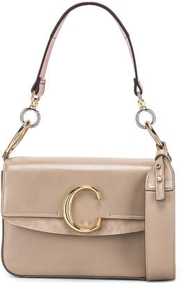 Chloé Small C Double Carry Bag in Motty Grey | FWRD