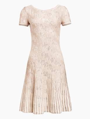 St. John Inlay Sequin Trellis Knit Fit & Flare Dress