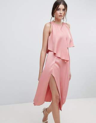 Asos DESIGN crop top thigh split satin midi dress